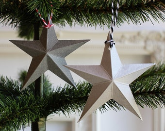Paper Star Christmas Ornaments - Holiday Ornaments - Christmas Decor - Silver ornaments - Dimensional barn Star - Holiday Decorations - xmas