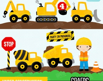 UNDER CONSTRUCTION  - Digital Clipart Set, Construction Clipart, Construction Trucks Clipart, Construction Signs.