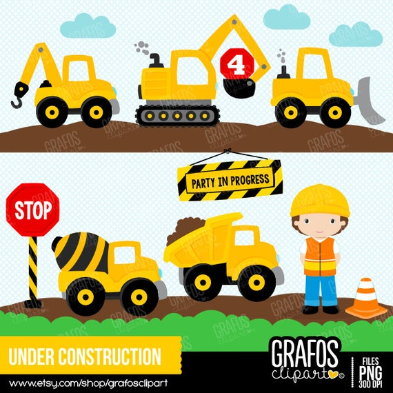 UNDER CONSTRUCTION Digital Clipart Set Construction