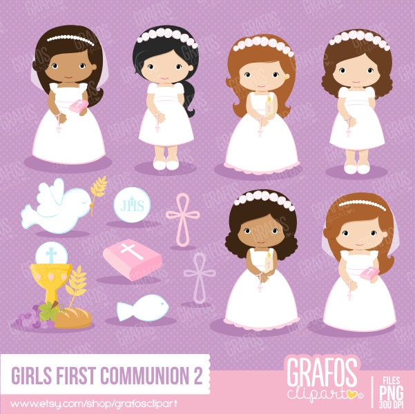 GIRLS FIRST COMMUNION 2 Digital Clipart Set My First