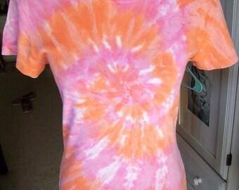 Vintage 1990s Tie Dye Grunge Hippie Psychedelic Trippy Orange Pink Popsicle Color T Shirt Sz M