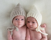 Crocheted 'Layfette'  Pixie Bonnet, Hat, Baby to Toddler, Girl or Boy, NB to 4 years Custom Colour choice Made to Order.