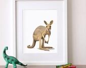Kangaroo art print, kangaroo nursery artwork, baby jungle animal print, safari childrens ilustration - nursery art