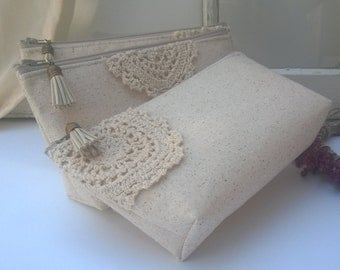 Set of 5 - Cotton Lace Bridesmaid Clutches, Beige Linen Clutch Purses, Rustic Wedding, Set of Spring Wedding Bridesmaid Gift Sets