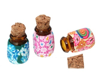 10 Glass Bottles with Corks - WHOLESALE - Assorted - 19x13mm - Ships IMMEDIATELY from California - G104a