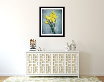Daffodil Photograph, Yellow and Blue Wall Art, Flower Picture, Spring Artwork, Vertical Photo, Portrait Orientation, Daffodil Decor