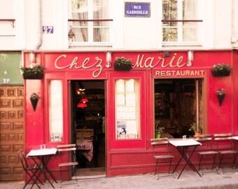 Paris Cafe Photograph, Chez Marie, Montmartre, Famous Paris Cafe, Red French Decor, Travel Fine Art Photograph, Large Wall Art