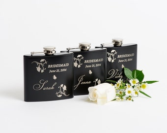 Bridesmaid Gift, Personalized Bridal Party Gift, Engraved Hip Flask, Personalized Whiskey Flask, Pocket Size Flask