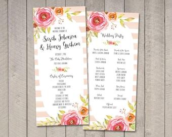 Floral & Stripes Wedding Program (Printable) by Vintage Sweet