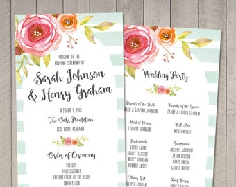Floral & Stripes Wedding Program (Printable) by Vintage Sweet