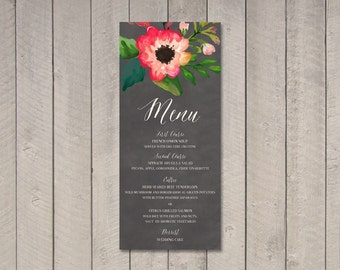 Watercolor Wedding Menu (Printable) DIY by Vintage Sweet