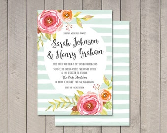 Floral & Stripes Wedding Invitation (Printable) DIY by Vintage Sweet
