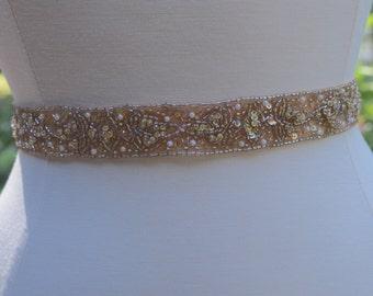 Rose Gold Wedding Sash, Hand Beaded Bridal Belt, Champagne Wedding Sash,  Gold Pearl Wedding Sash