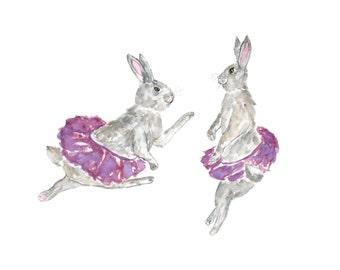 Watercolor nursery, bunny ballerina, purple nursery, bunny nursery, watercolor bunny, baby nursery watercolor, bunny animal art, 10X8
