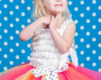 """Hot pink and orange yellow tutu """"Becky"""" kids tutu size 2 3 4 photo prop birthday tutu 2T 3T 4T toddler tutu dress up pink & orange tutu"""