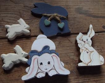 Vintage Wooden Bunny rabbit lot / Primitive / inspiration / Sitting / Folk Art / blue / Rustic / vignette / child's room / mixed media
