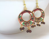 Enamel Earrings,Red,Green,White And Gold Earrings, Meenakari Earrings,Jaipur Earrings