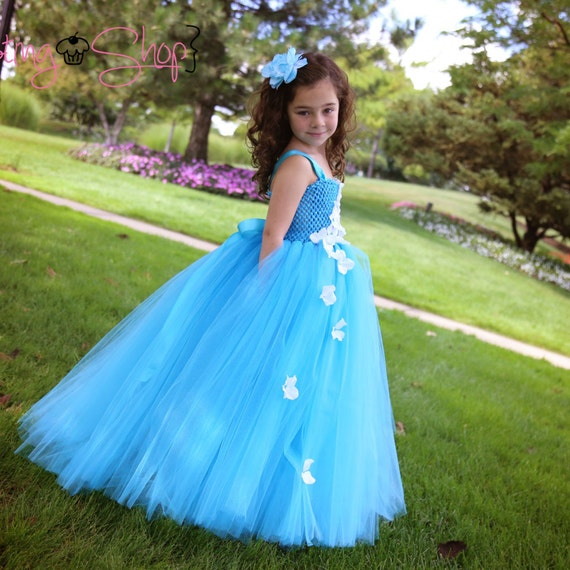 Cascading Hydrangea Tutu Dress- Flower girl, pageant, teal, turquoise
