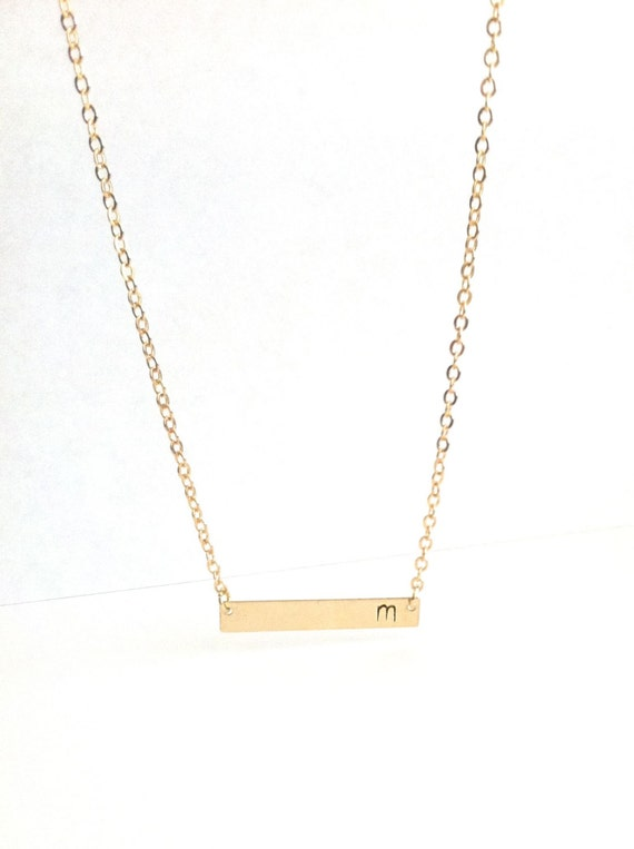 gold bar initial necklace dainty initial necklace delicate