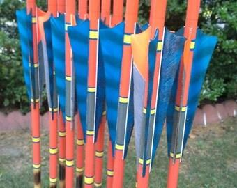 Spliced Arrows, 50-55lb, dozen(12) arrow set, traditional wood archery arrows