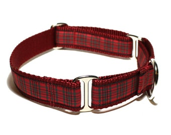 "Wallace (Waverley) Tartan Dog Collar - 1"" (25mm) Wide - Martingale or Plastic Side Release // Choice of collar style and size // Red Tartan"