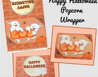 Digital Printable Halloween Popcorn Wrapper Instant Download Party Favor