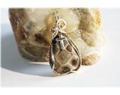 Petoskey Stone Pendant / Lake MI Petoskey Stone / Sterling Cross