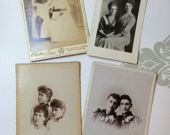 Vintage Photograph Collection of Sisters  Cabinet Cards and Photo Postcard Sisters and Friends Collection of Four