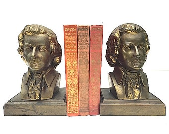 Brass MOZART Bookends, Mid Century Modern Home Decor, Christmas Gift For Husband Wife Musician, BOOKENDS For Bookshelf, Mozart For Bookshelf