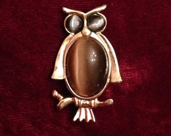 Free Shipping: Vintage 60s/70s Polished Agate Owl Brooch Pin