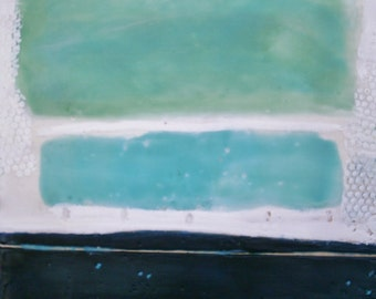 """Encaustic wax abstract painting on cradled wood panel 12 inch square, 1-1/2"""" deep wall art by donnasledge DCS Studio"""