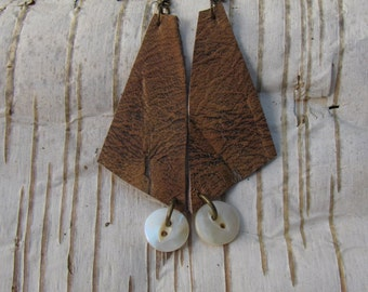 Earthy Boho Leather Earrings/ Funky Eco Upcycled Earrings Brown Mother of Pearl