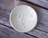 Ring Holder, Tiny Ceramic FAITH Ring Dish.  Inspirational gift, emoji dish, handmade ceramic dish.  Balloon emoji, balloon emoticon
