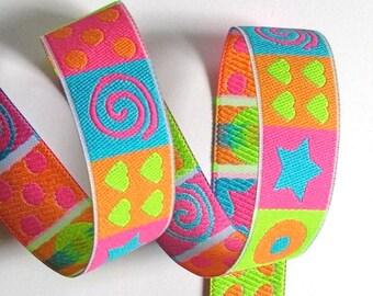 "Bright Squares - 1""  - Pink, Blue, Orange etc. - Stars, Hearts and Swirly Geometric Designs"