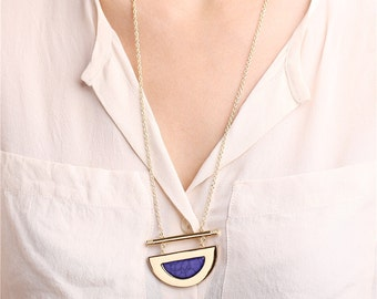 Delicate boho half circle long gold necklace - everyday jewelry