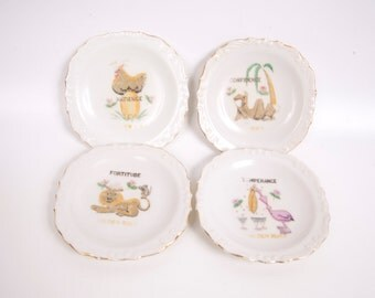 Vintage Golden Rule Miniature Plates 6984 Set of 4 Temperance Patience Confidence Fortitude Animal Plates