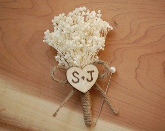 Rustic Baby's Breath Wedding Boutonniere with Personalized Heart Initials.
