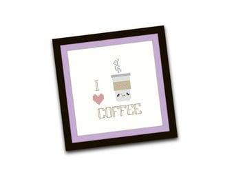 HALF OFF PATTERNS Sale Kawaii Coffee Cross Stitch Pattern