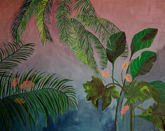 Pink and Blue tropical landscape - illustration - giclee print