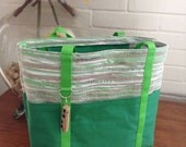 Hand Woven, Up-cycled, Recycled Plarn (Reclaimed Plastic Bags) Tote, Book Bag, Market Bag, Travel Bag, Computer Bag in Greens