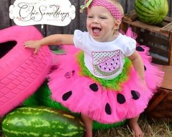 Watermelon Birthday Tutu, First Birthday baby tutu, watermelon tutu, hot pink lime green watermelon tutu, watermelon birthday tutu outfit