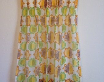 Vintage Mod Patterned Curtain, Single Vintage Curtain, Sheer Short Curtain, 23.5 x 33.5