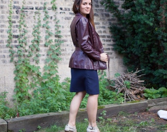 Vintage 80s Leather Jacket - Dark Oxblood Brown Fall Autumn Coat Petite SM
