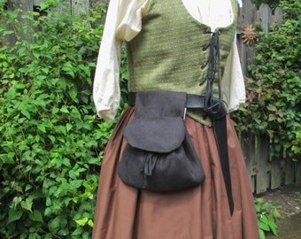 Renaissance Belt Bag, Womens Medieval Purse - Black Faux Suede Fabric