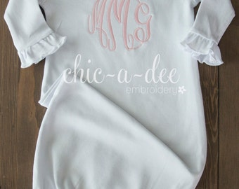 Monogrammed Layette Gown (Ruffle Sleeve)