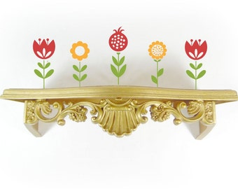 Vintage Gold Ornate Wall Shelf SYROCO Small Plastic Accent Display Shelf Wall Hanging Shelving Fleur De Lis Floral Roccoco Hollywood Regency