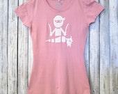 NINJA Vegan T-shirt, Vegetarian Tshirt, Womens T Shirt, Pink Bamboo Organic Cotton TShirt, Graphic Tee Shirt, Gift for Her,