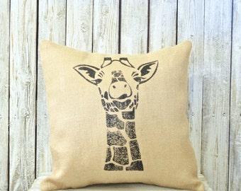 Throw Pillow Cover, Giraffe Burlap Decorative Pillow