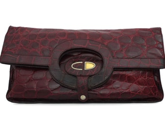 Vintage CHRISTIAN DIOR Crocodile Envelope Clutch