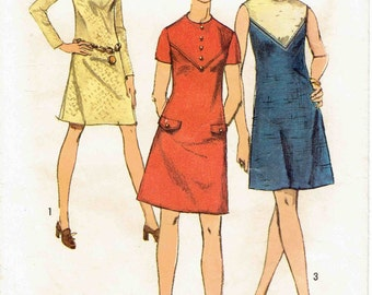 70s A-Line Mini Dress with Contrast Yoke. Sleeveless, Short or Long SLeeve options. Simplicity 8788 Pattern. Size 14 Bust 36 in.